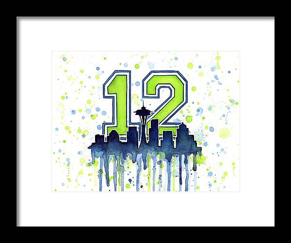 Seattle Framed Print featuring the painting Seattle Seahawks 12th Man Art by Olga Shvartsur