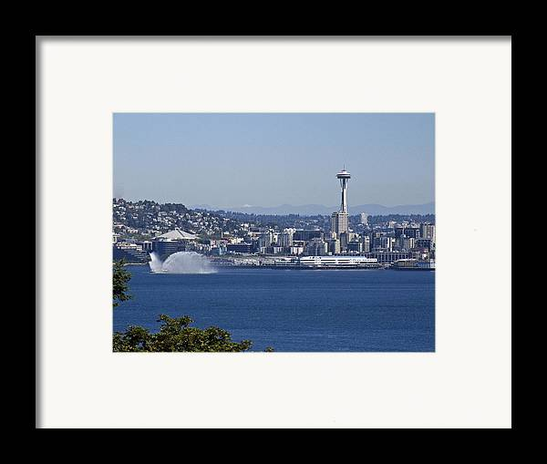 Seattle Framed Print featuring the photograph Seattle Space Needle And Fire Boat by Ron Roberts