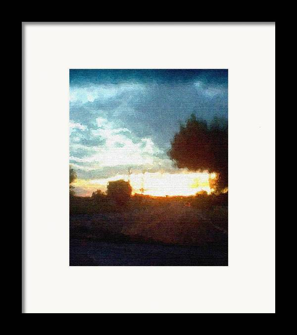 Abstract Sunset Framed Print featuring the mixed media Second Sunset by Pharris Art