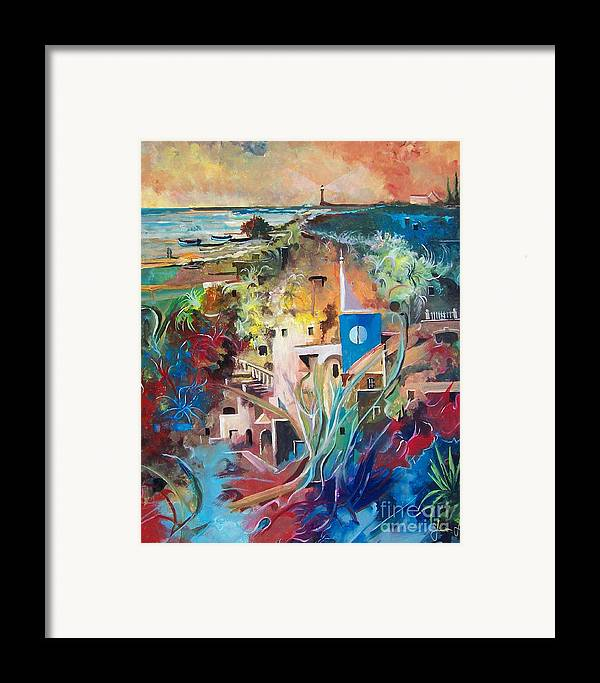 Abstract Framed Print featuring the painting Secret Cove by Sinisa Saratlic