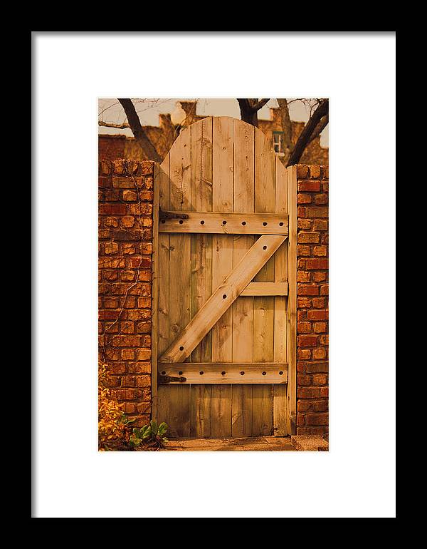 Wood Gate Framed Print featuring the photograph Secret Garden Gate by Penny Hunt