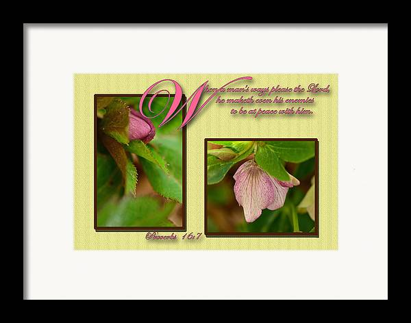 Scripture Framed Print featuring the photograph Secret Of Peace by Larry Bishop