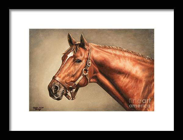 Secretariat Framed Print featuring the painting Secretariat at Claiborne by Thomas Allen Pauly