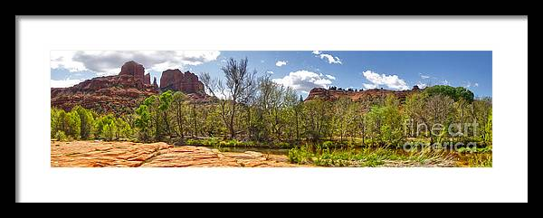 Sedona Arizona Framed Print featuring the photograph Sedona Arizona Cathedral Rock Panorama by Gregory Dyer