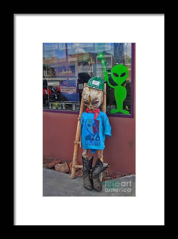 Sedona Arizona Framed Print featuring the photograph Sedona Arizona Grey Alien by Gregory Dyer