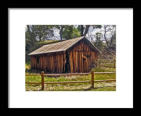 Sedona Arizona Framed Print featuring the painting Sedona Arizona Old Barn by Gregory Dyer