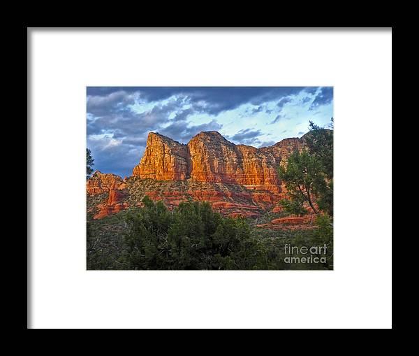 Sedona Arizona Framed Print featuring the photograph Sedona Arizona Sunset On Mountains by Gregory Dyer