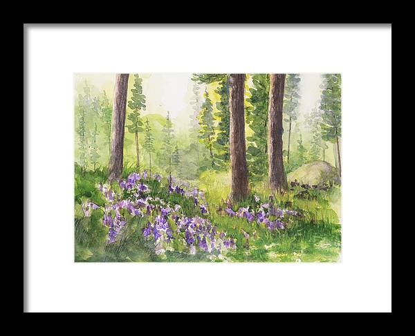 Pine Framed Print featuring the painting seed House Blooms by Mary Levingston