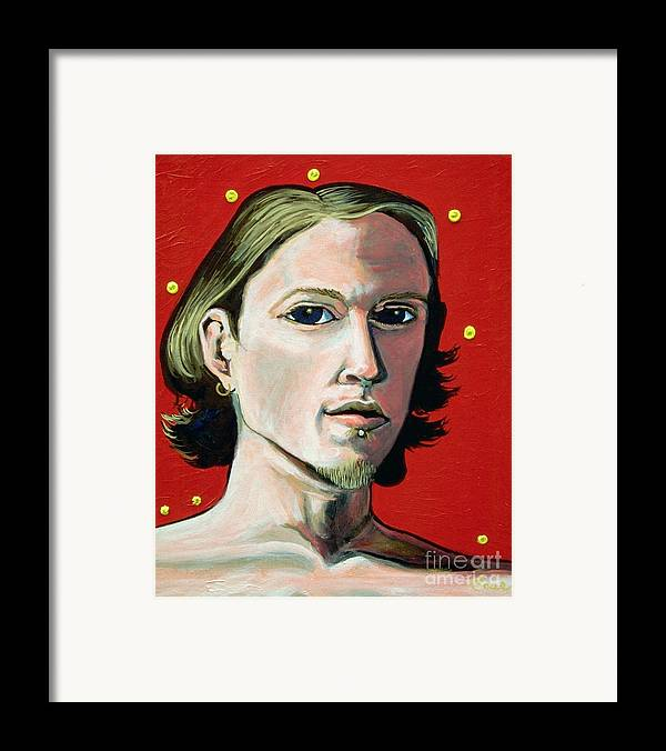 Artist's Self Portrait 1995 Framed Print featuring the painting Self Portrait 1995 by Feile Case