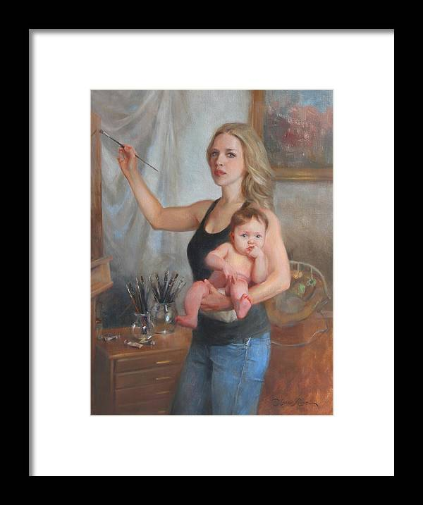 Artist Framed Print featuring the painting Self Portrait At 29 by Anna Rose Bain