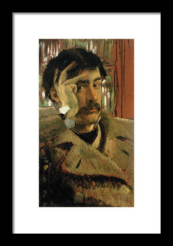 Thoughtful Framed Print featuring the photograph Self Portrait, C.1865 Panel by James Jacques Joseph Tissot