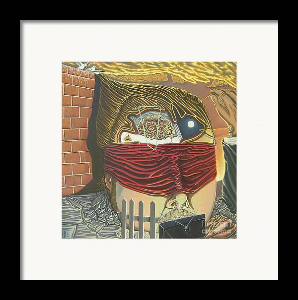 Self Portrait Framed Print featuring the painting Subconcious Self Portrait by Mack Galixtar