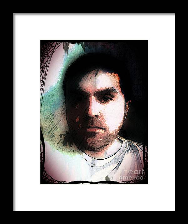 Framed Print featuring the digital art Self Portrait Metal by Jose Benavides