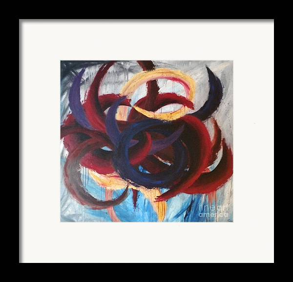 Abstract Framed Print featuring the painting Self-portrait by Silvie Kendall