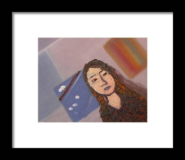 Portrait Framed Print featuring the painting Self-portrait2 by Min Zou