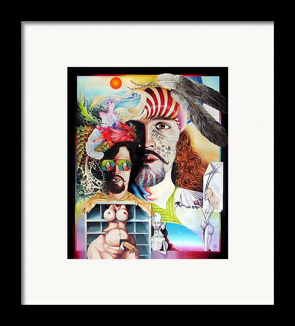 Surrealism Framed Print featuring the painting Selfportrait With The Critical Eye by Otto Rapp