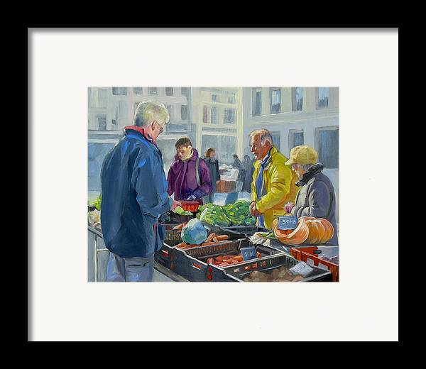 Dominique Amendola Framed Print featuring the painting Selling Vegetables At The Market by Dominique Amendola