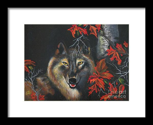 Wolf Framed Print featuring the painting Seneca by Lora Duguay