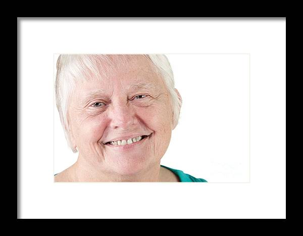 Adult Framed Print featuring the photograph Senior Woman Portrait Smiling by Gunter Nezhoda
