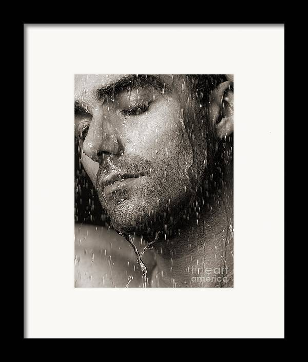 Man Framed Print featuring the photograph Sensual Portrait Of Man Face Under Pouring Water Black And White by Oleksiy Maksymenko