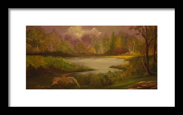 Landscape Framed Print featuring the painting Serene by Peggy Martin
