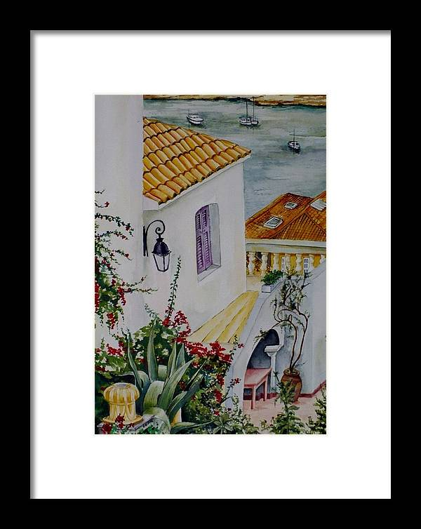 Landscape.italy Framed Print featuring the painting Serene Villa by Maris Liepins