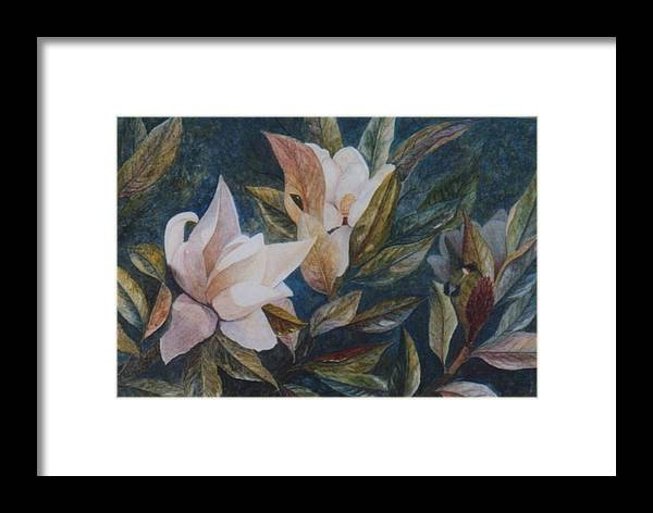 Magnolias; Humming Bird Framed Print featuring the painting Serenity by Ben Kiger