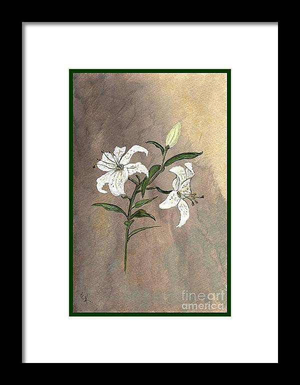 Flower Framed Print featuring the painting Serenity by Ella Kaye Dickey