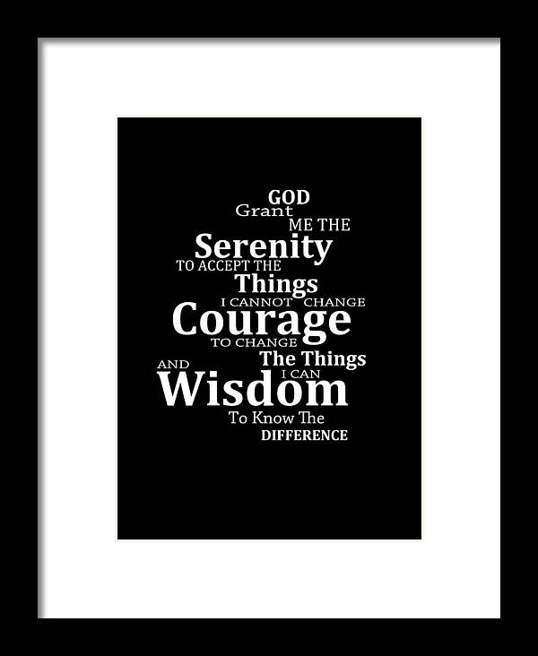 Serenity Prayer Framed Print featuring the painting Serenity Prayer 5 - Simple  Black And White by ab0b494df682c