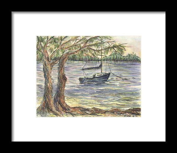 Boat Framed Print featuring the painting Serenity Sailboat by Nancy Taylor