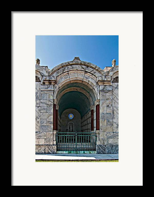 Metairie Cemetery Framed Print featuring the photograph Serious Business by Steve Harrington
