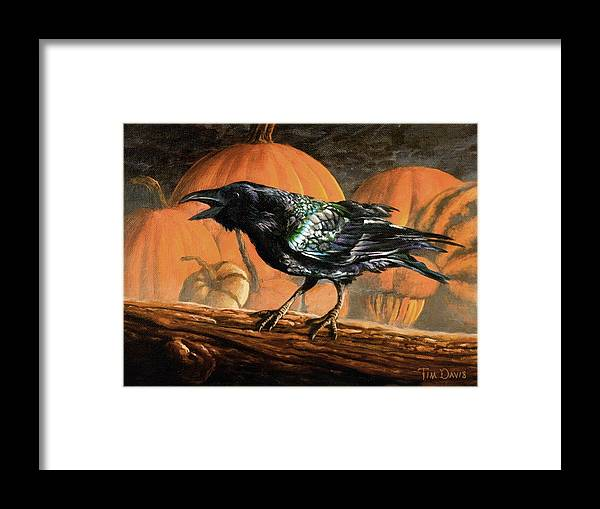 Raven Framed Print featuring the painting Sermon On The Perch by Tim Davis