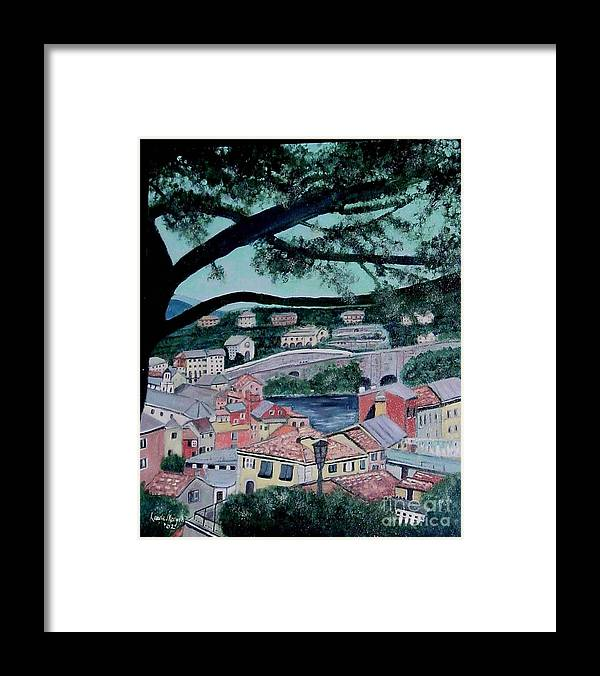 Italy Framed Print featuring the painting Sestri Levante by Laurie Morgan