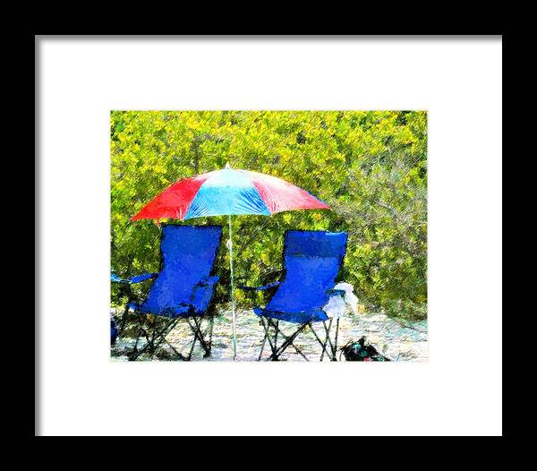 Umbrella Framed Print featuring the mixed media Set For Two by Florene Welebny