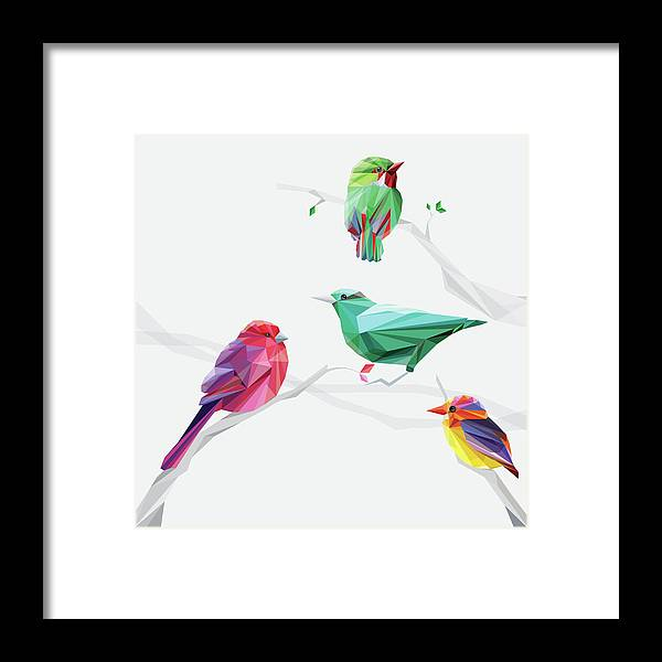Funky Framed Print featuring the digital art Set Of Abstract Geometric Colorful Birds by Pika111