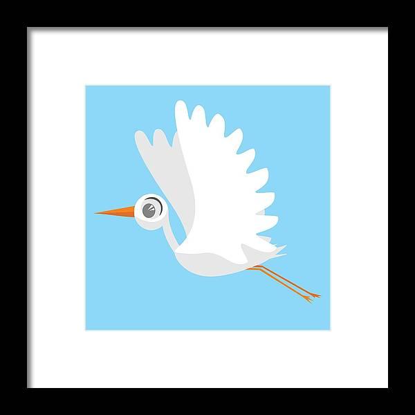 Set Of Birds Stork Cute Birds Isolated Fly Cartoon Characters