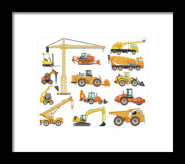 Hydraulic Platform Framed Print featuring the digital art Set Of Detailed Heavy Construction And by Alexyustus