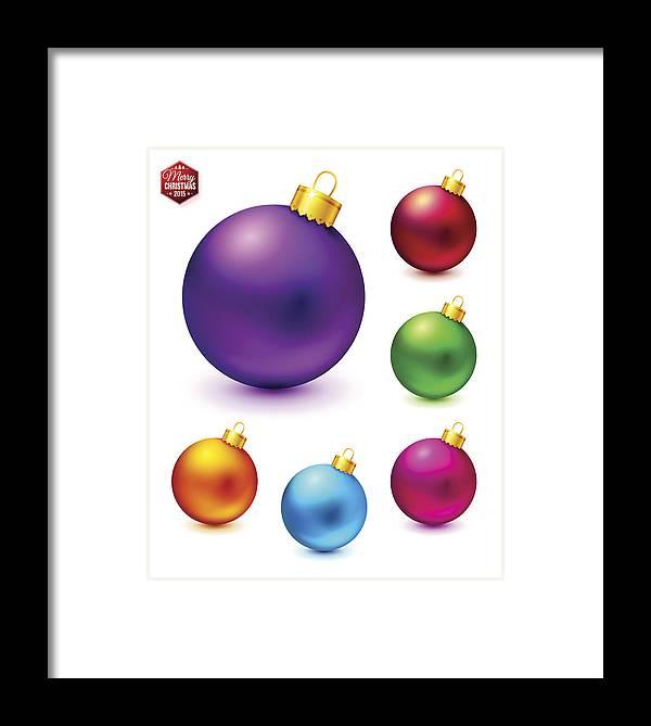 Colorful Christmas Balls.Set Of Realistic And Colorful Christmas Balls Vector Illustrati Framed Print
