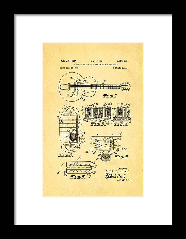 Famous Framed Print featuring the photograph Seth Lover Gibson Humbucker Pickup Patent Art 1959 by Ian Monk