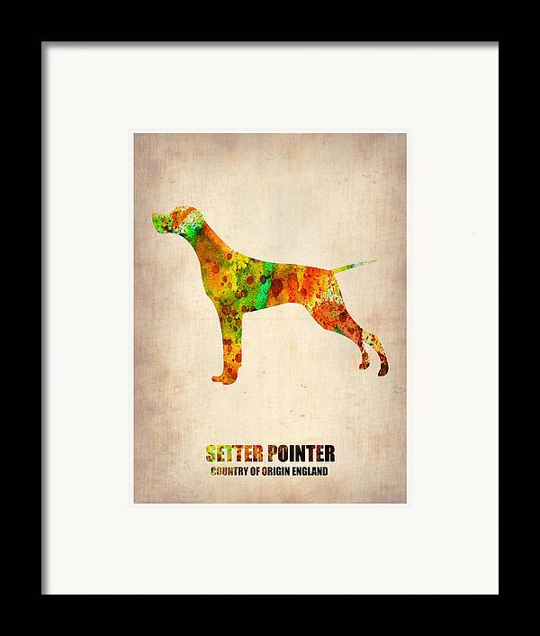 Setter Pointer Framed Print featuring the painting Setter Pointer Poster by Naxart Studio