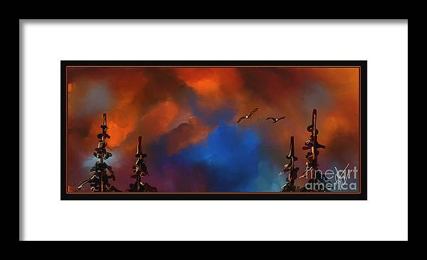 Eagles Framed Print featuring the painting Setting Eagles by Steven Lebron Langston