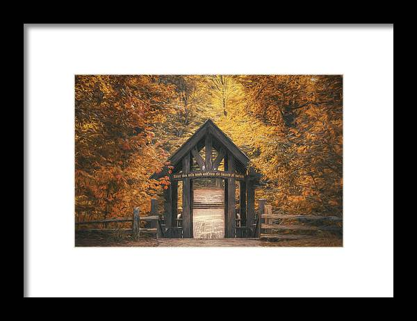 Forest Framed Print featuring the photograph Seven Bridges Trail Head by Scott Norris