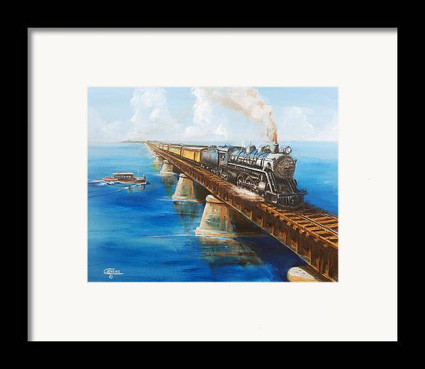 Florida Framed Print featuring the painting Seven Mile Bridge by Christopher Jenkins