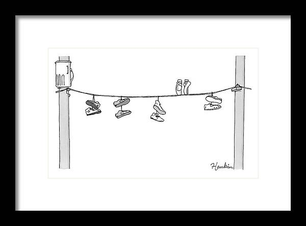 Captionless Framed Print featuring the drawing Several Pairs Of Shoes Dangle Over An Electrical by Charlie Hankin
