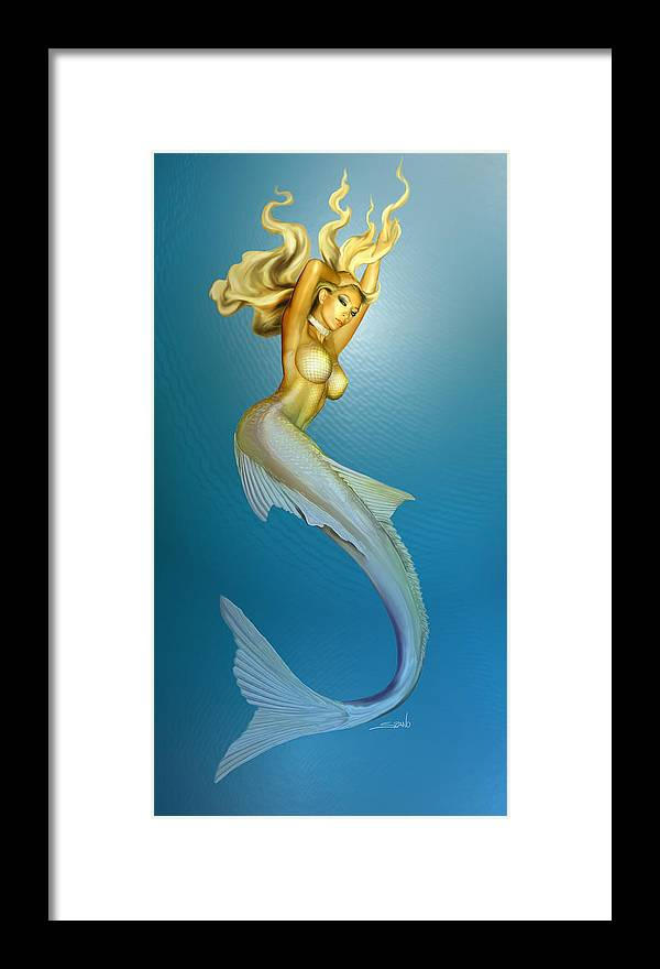 Spano Framed Print featuring the painting Sexy Mermaid By Spano by Michael Spano