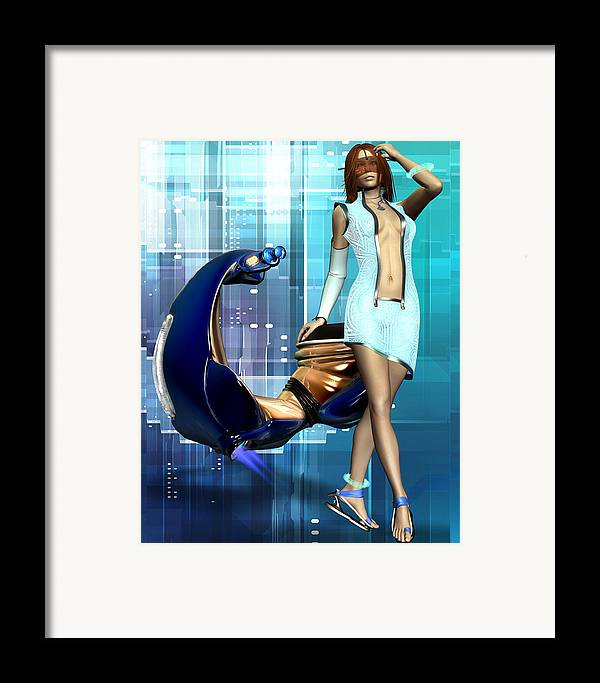 Babe Framed Print featuring the digital art Sexy Scooter by Frederico Borges