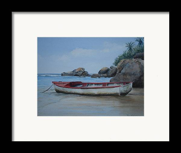 Landscape Framed Print featuring the painting Seychelles Memories by Maruska Lebrun