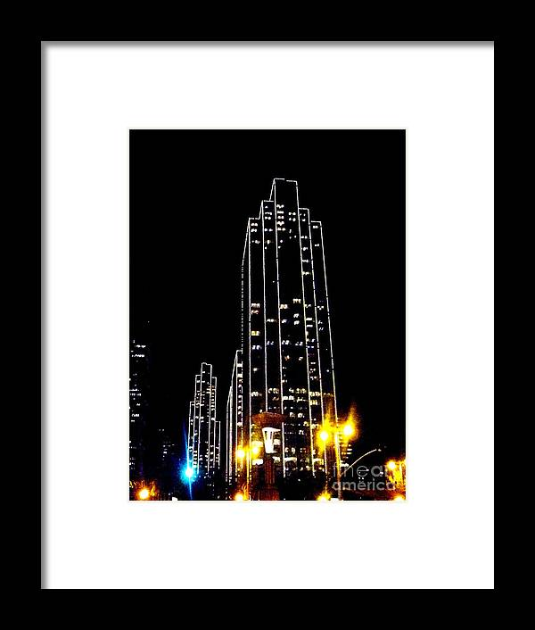 Sf.night.light Up.black.yellow.blue.white.modern.city.high Building.sky.line.energy. Framed Print featuring the photograph Sf Night Light Up by Kumiko Mayer