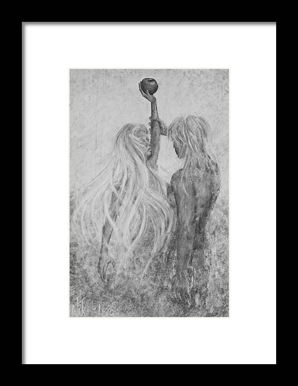 Shades Of Gray Framed Print featuring the painting Shades Of Gray - Adam And Eve by Nik Helbig