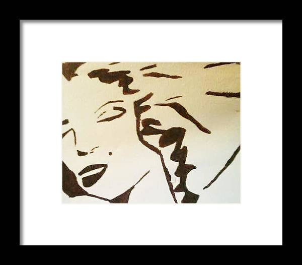 Black And White Framed Print featuring the painting Shadow Monroe by Krystyn Lyon